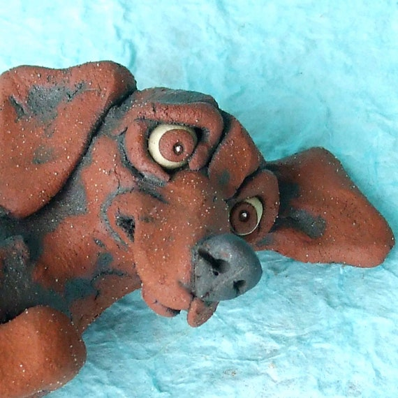 Dachshund Lying on Back Ceramic Sculpture- DEPOSIT RESERVED for Ganipganip