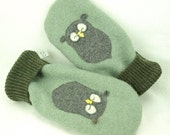 Men Felted Wool Mittens Owl Sweater Mittens Light Green Grey Brown Owl Applique Fleece Lining Leather Palm Eco Friendly Upcycled