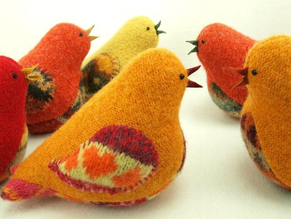 Bird Ornament Eco Friendly Home Decor Bird in Harvest Colors Yellow and Orange Bird Felted Wool  Lamb Wool Stuffing RESERVED FOR LISA