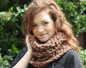 Brown Cowl scarf in Regal Earth- chunky tube scarf