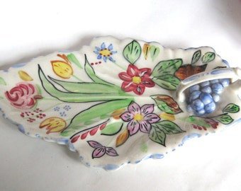 Vintage Blue Ridge Pottery China Leaf Relish or Candy Dish Hand Painted Flowers and Grapes