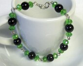 "Cyberpunk Green and Black Beaded Bracelet - ""Console"""