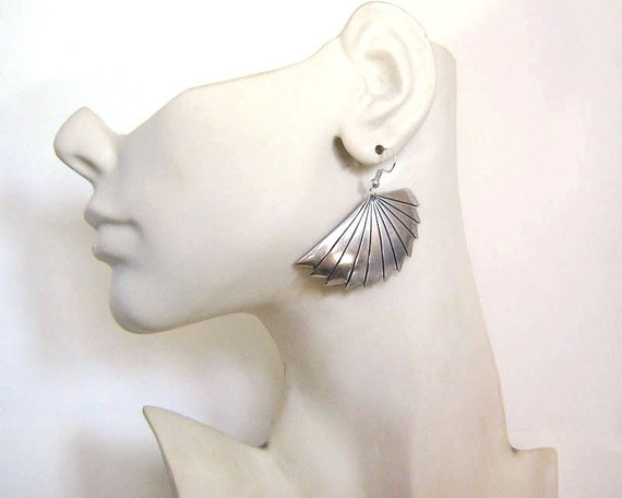 Art Deco Jewelry Art Deco Fan Earring SP OX