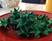 Set of 12 German Folded Paper Star Ornaments-Emerald green shimmer 2 inch