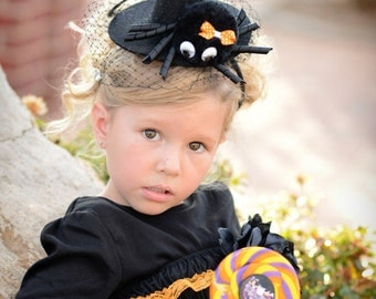 Halloween Over The Top Orange and Black Spider on Mini Witch Hat with French Net Web Free Shipping On All Additional Items