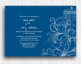 Printable Wedding Invitation - Blue and White Tardis Swirls