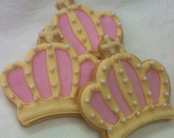 QUEEN FOR A DAY Crown Sugar Cookie Party Favors, 1 Dozen