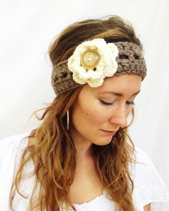 Aubrey's Taupe HEAD WRAP - Neutral, Warm, Everyday Accessory, Stocking Stuffer, Handmade, Crochet, Acrylic Wool Yarn, Ivory Flower, Women.