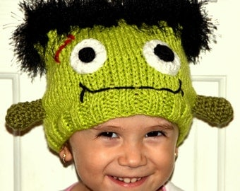 Frankenstein Hat Newborn Baby Halloween Frankenstein Beanie Knitted Photo Prop All Sizes