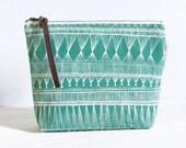 medium cotton zip pouch - Teal Market Weave