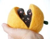 Needle Felted Toy, Gray Pumpkin Mouse for Happy Children, Waldorf Inspired Wool Toy, Soft Plush Stuffed Animal Toy Fairyfolk