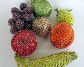 Vintage Sequined Fruit Kitsch Beaded Artificial Fruit apple pear banana grapes orange peach lemon - nanascottagehouse