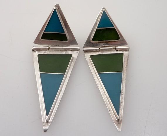 Vintage Blue & Green Enamel Inlay Super Triangle Earrings