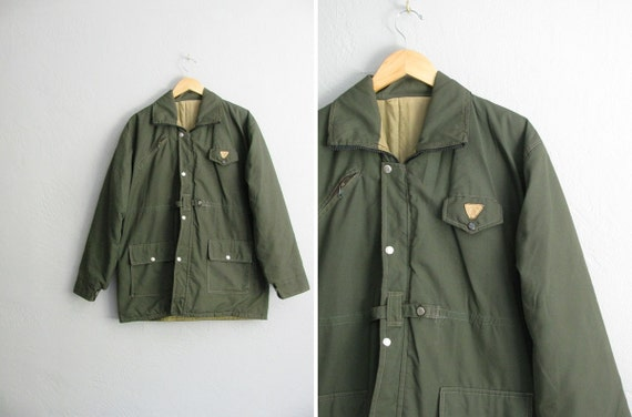 r a r e . vintage men's ARMY GREEN MILITARY zip-front jacket. size l xl.