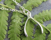 Silver wishbone necklace- good luck charm & delicate sterling silver chain - best wishes - lucky charm - free shipping USA