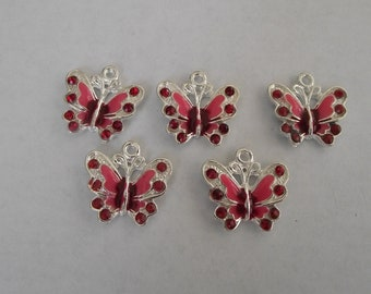 Red Enamel Butterfly Charms- five charms- silver charms