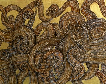 Modern Jigsaw Puzzle 1000  piece By Lynnette Shelley 'Dueling Octopus'