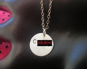 Statement Necklace, Raunchy, Feminism, Circle Necklace, Round Charm, Sterling Silver Disc, Disc Necklace, Mature