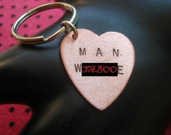 MAN WHORE--Copper Heart Keychain, Copper Keychain, Men's Keychain, Whore, Gigolo, Mature, Metal Taboo