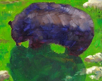 Fuzzy Bear, 8x8 Original Oil Daily Painting on Canvas, Wildlife Painting, Black and Green, Nature Art