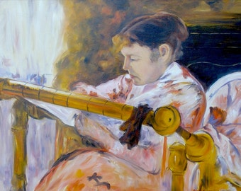 Lydia at a Tapestry Loom, 24 x 18, Large Oil Painting after Mary Cassatt