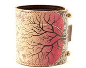 Leather cuff / wallet wristband - Peach tree