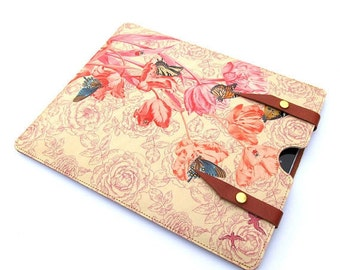 Leather Large Tablet Case - Springtime