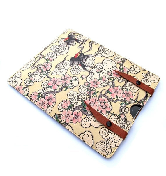 Leather iPad case  - Cherry Blossom and Swallow design