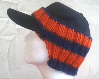 Baseball Cap Ear Warmer--Blue and Orange Team Spirit--Ready to Ship