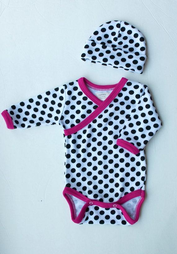 Newborn Baby Black Polka Dot Kimono-style Oneise and Hat Set