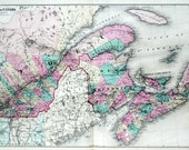 1878 Antique Map of the Dominion of Canada, Eastern Sheet - Hand-Coloured - Rare Large - Canada Antique Map