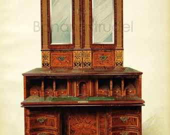 Vintage PRINT of Edwardian Furniture - Inlaid Writing Cabinet- 1905 Large Antique Chromolithograph on English Furniture - Home DecorWalnut