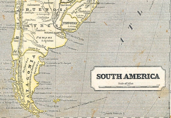 1851 Antique Map of South America