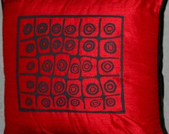 Designer Red Handwoven Raw Silk Pillow African Tribal Design
