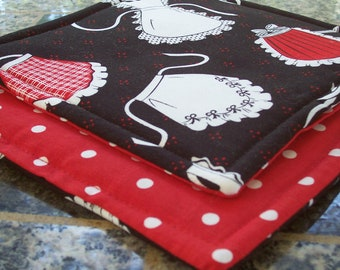 Kitchen Fabric Potholders - Vintage Aprons - Black and White Red Polka Dots