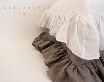 IVY..BED PILLOW ..set of 2 with sheer linen hemmed ruffle