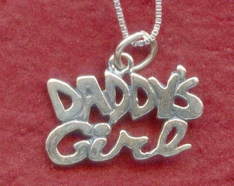 Sterling Silver Daddys Girl Necklace Solid 925 Charm Pendant and Chain