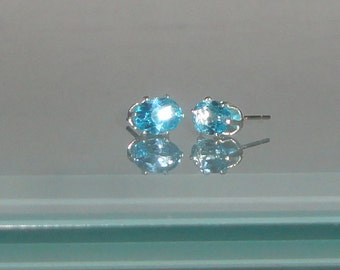 Swiss Blue Topaz Ovals in Sterling Silver