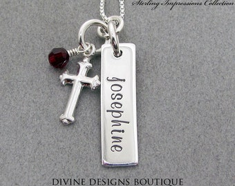 Cross Necklace Personalized Jewelry Cross Jewelry Confirmation Gift Baptism Silver Cross Name Necklace Religious Gifts