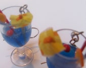 "Blue Hawaiian Tropical Cocktail Earrings w/ Tiny ""paper"" umbrella, straw, cherry and Tiny Orange Wedge"