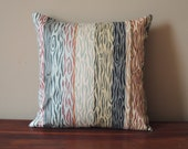 Muted neutral faux bois woodgrain stripe vintage cotton home decor pillow case 16 x 16