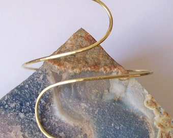 Armlet - Brass Armband - Brass Fully Hammered Curved Upper Arm Cuff - Brass Armlet - Also Available in Copper Bronze and German Silver