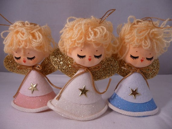 Hands Down Cutest Lot of 3 Vintage Flocked Angel Ornaments in Sugary Pastels