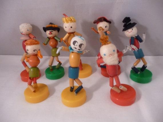 8 Vintage Christmas Spun Cotton Pixie Puppets Ornaments