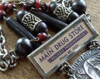 Antique Assemblage Necklace Antique Enameled Druggist Medal