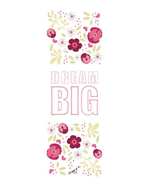 Kids Wall Art Quote Print -Dream Big -Nursery Art, inspirational quote, nursery decor, Dream Big print, Motivational quote art, Positive Art