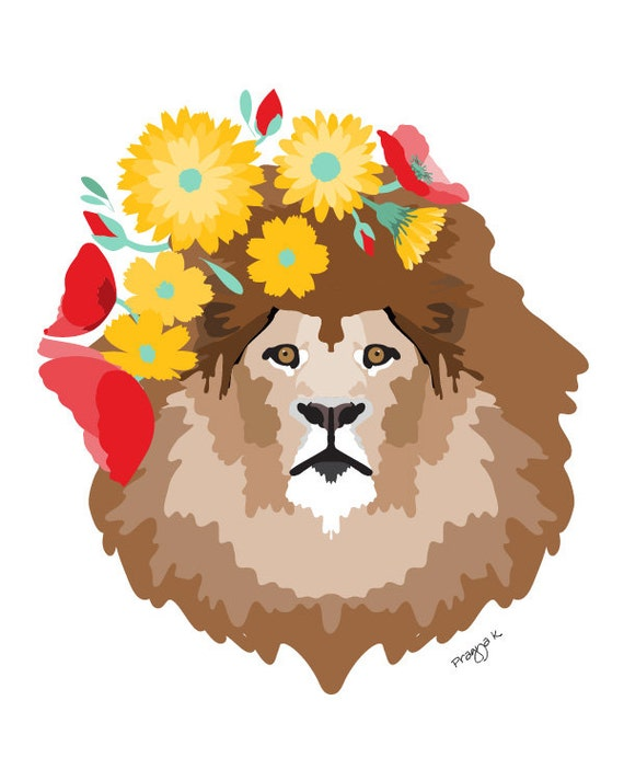 Lion Nursery art print  - Dandy Lion - Colorful art, Woodland Nursery Art, Woodland lion Art , baby nursery decor, nursery wall art, flowers