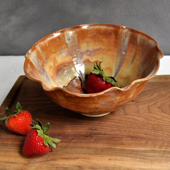 ceramic flower Bowl  SECONDS SALE Red Orange Gold Brown  8 cup Flower shape Sunday Coffee series