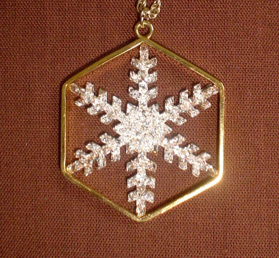 Franklin Mint Snow Crystal Snowflake Pendant Vintage Sterling