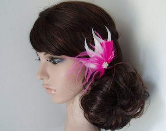 Hot Pink Feather Hair Clip Wedding Hair Piece Bridal Accessories Fascinator bridesmaid - Ready To Ship
